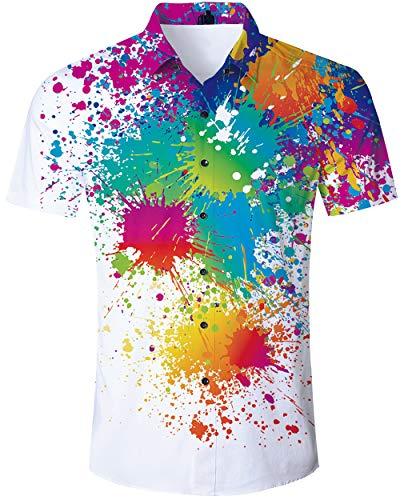 - Loveternal Short Sleeve HawaiianShirtsforMenGraffiti Hawaiian Aloha Shirt 70s Button Down Shirts for Men Big and Tall Retro Hawaiian Attire for Adult Luau Shirts XXL