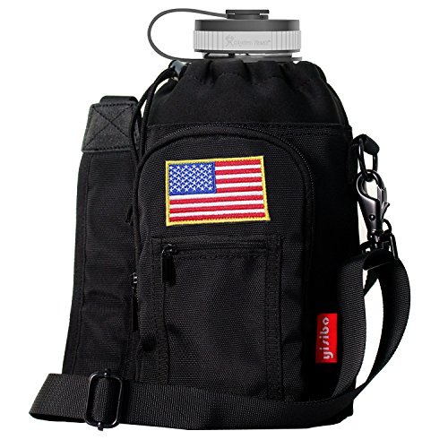 YISIBO Pouch / Sleeve with Carrying Handle for 64 oz Hydro Flask Bottles w/ 2 Pockets Adjustable Shoulder Strap Embroidered Velcro Badge (Black, For 64 oz Hydro Flask Bottle)