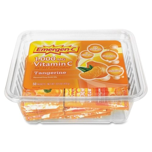 Wholesale CASE of 10 - Alacer Emergen-C Vitamin C Drink Mix-Vitamin Drink Mix, Vitamins C/B, 1000 mg, 50ea/PK,Tangerine