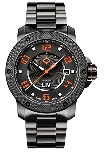 LIV GX1-A Swiss Made Automatic Self Winding Analog Display Dress Watch for Men - 42 mm Stainless Steel with Date Calendar - 300 feet Waterproof - Signature Orange