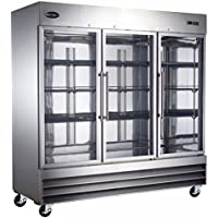Heavy Duty Commercial Stainless Steel Reach-In Refrigerator (Three Glass Door)