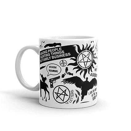 0c7108d7ba Amazon.com: Supernatural items Mug 11 Oz White Ceramic: Kitchen & Dining