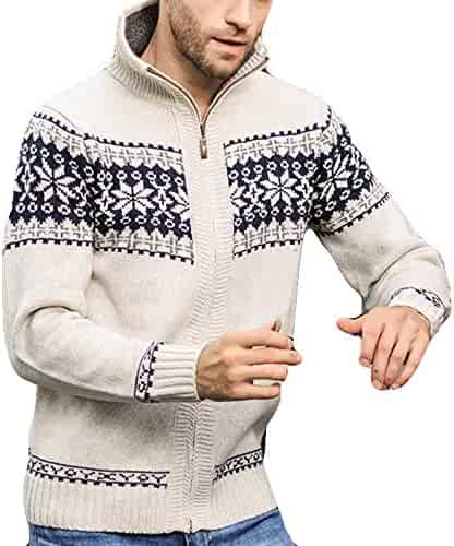TAGGMY Jackets for Men Winter and Autumn Blue Jacquard Slim Neck Collar Knitted Long Sleeves Coat Fashion Trend Beige 3XL