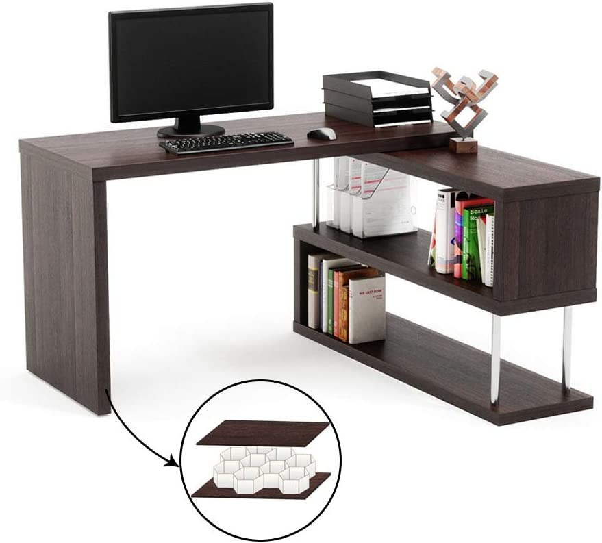 Amazon Com Bestier Rotating L Shaped Desk 51 Large Corner