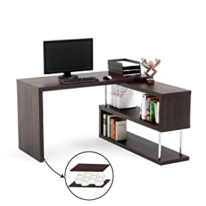 "Bestier L-Shaped Rotating Computer Desk, 51"" Large Storage Capacity Corner Desk with 2-Tier Open Storage Shelf, Lightweight Sturdy Hollow-Core Study Writing Table Double Workstation for Home Office"