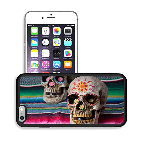 Luxlady Premium Apple iPhone 6 Plus iPhone 6S Plus Aluminum Backplate Bumper Snap Case IMAGE ID: 26111972 Day of the Dead dia de los muertos decorated skulls with colorful Mexican blanket