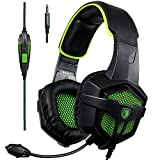 Sades SA807Green Over-ear Bass Gaming Headsets Headphones For New Xbox one PS4 PC Laptop Mac Mobile, Black & Green