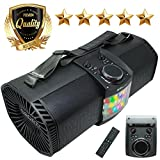 EMB Bluetooth Boombox Street Disco Stereo Speaker - 3600mAH Rechargeable Battery Portable Wireless 300 Watts Power FM Radio/MP3 Player w/Remote and Disco Lights (Black)