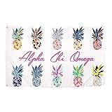 Cheap Alpha Chi Omega Pop Art Pineapple Sorority Flag Greek Letter Use as a Banner 3 x 5 Feet Sign Decor AXO