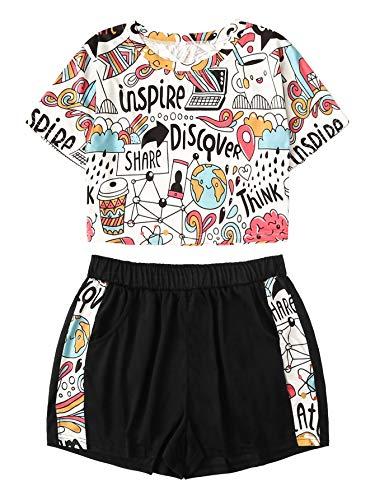 DIDK Women's Cartoon Print Tee and Shorts Pajama Set White and Black XL