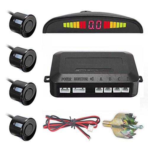 arking Sensor Kit Car Reverse Backup Radar System Auto Safety Alarm with 4 Parking Sensors Warning Tone Display Monitor Kit ()