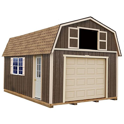 Wooden garage kit with sturdy built floor.