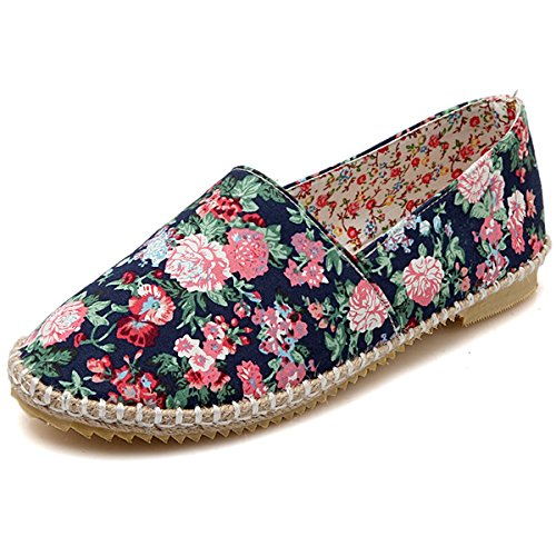 Shoes Navy Comfortable DoraTasia Breathable Floral Shoes Flat Slip on Women's Fashion nTFgqwTp1