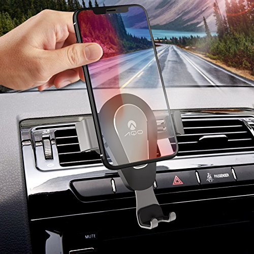 Phone Holder for Car AQO Air Vent Gravity Sensing Auto Lock Metal Cell Phone Holder Smart No Touch Design One hand Operate for iPhone X/8/7/6s/Plus/5S/Samsung S8/S7 Note and other 4-6 Inch Smartphones