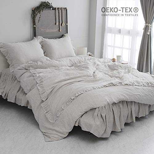 Simple&Opulence 100% Stone Washed Linen Shabby Chic Ruffled Duvet Cover Set (Queen, Linen)