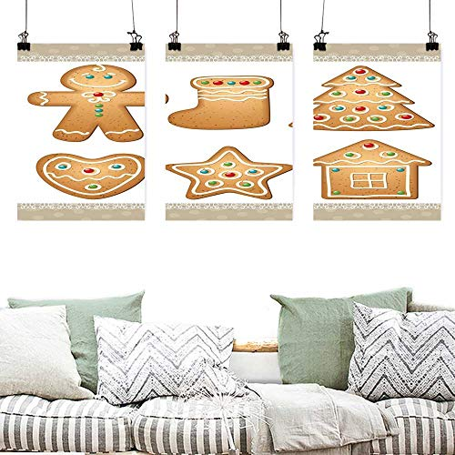 (Canvas Pictures Gingerbread Man Cute Pastry Design Graphic Cookies in Different Shapes Tasty Sweet Goodies Artwork for Home Decoration Wall Decor 3 Panels 24x47inchx3pcs Multicolor)