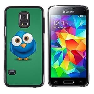 QCASE / Samsung Galaxy S5 Mini, SM-G800, NOT S5 REGULAR! / pájaro azul ojos grandes dibujo personaje de dibujos animados / Delgado Negro Plástico caso cubierta Shell Armor Funda Case Cover