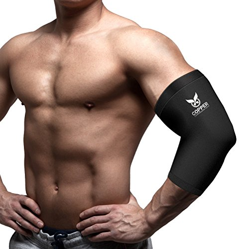 Copper Elbow Sleeve/Recovery Elbow Brace - Premium Fit 100% Guaranteed #1 Elbow Compression Sleeve/Support Brace/Wrap for Workouts, Tennis Elbow, Golfers Elbow, and More! (1 Sleeve) by Copper Compression Gear