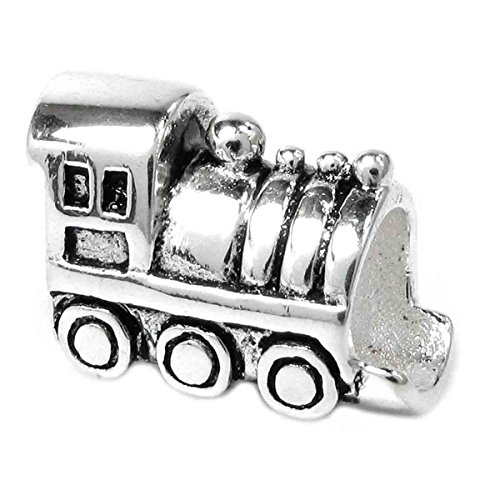 Queenberry Sterling Silver Train Engine European-style Bead Charm