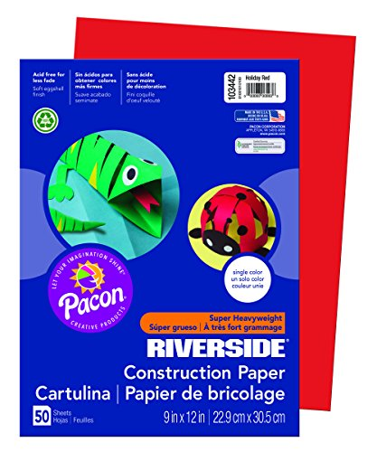 Riverside 3D Construction Paper, Holiday Red, 9