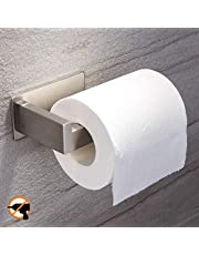 YIGII Toilet Paper Holder No Drill - 3M Bathroom Self Adhesive Toilet Tissue Holder Stick on Wall Stainless Steel Brushed