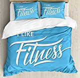Fitness Duvet Cover Set Queen Size by Ambesonne, I Like Fitness Sports and Work Out Athletic Lifestyle Theme Exercise Health, Decorative 3 Piece Bedding Set with 2 Pillow Shams, Light Blue White