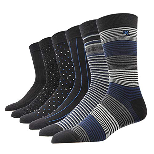 SOXART Men's Solid & Patterned Dress Socks Big & Tall 6-Pack Classic Cotton Style