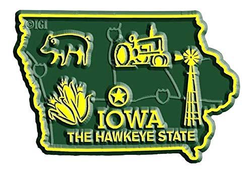 (Iowa State Map Fridge Magnet)