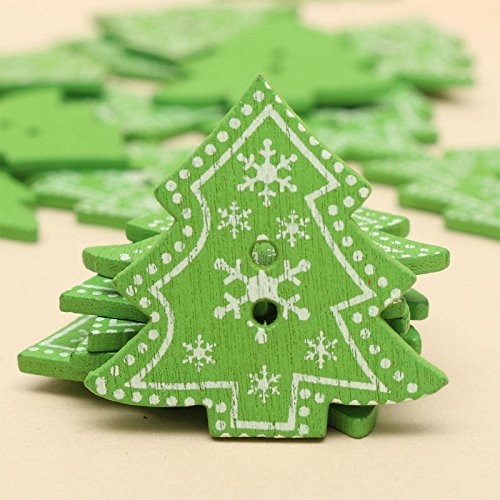 Windspeed 25Pcs Colorful Christmas Tree Heart Star Shaped Button Xmas Wooden Sewing Buttons (Christmas Tree)