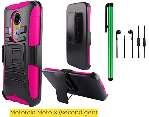 Premium Pretty Pink Heavy Duty Dual Shield Hybrid Protector Case with KickStand and Swivel Belt Clip Holster For Motorola Moto X (2nd generation) 2014 edition + 3.5MM Stereo Earphones + 1 of New Metal Stylus Touch Screen Pen