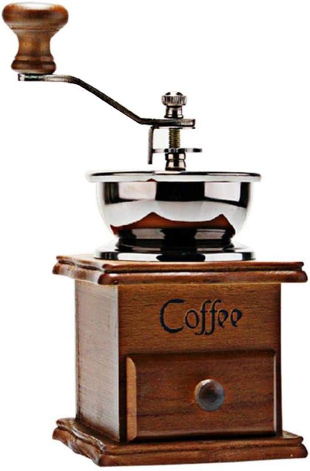 vogueyouth Molinillo de caf/é Manual Molinillo de caf/é de Madera de Estilo Vintage Molinillo de Grano Molinillo de caf/é batido de Mano innate