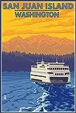 San Juan Island, Washington - Ferry and Mountains (16x24 Giclee Gallery Print, Wall Decor Travel Poster)