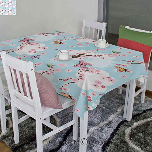 """AngelSept 3D Printed Tablecloth Velour Hemp by Spring Flower with Birds and Butterflies Freshening Sublime Sky Scenery Charm Print(60"""" H x84 W)"""