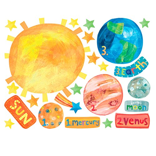 Wallies Wall Decals, Solar System Wall Stickers, Includes 2 Sheets