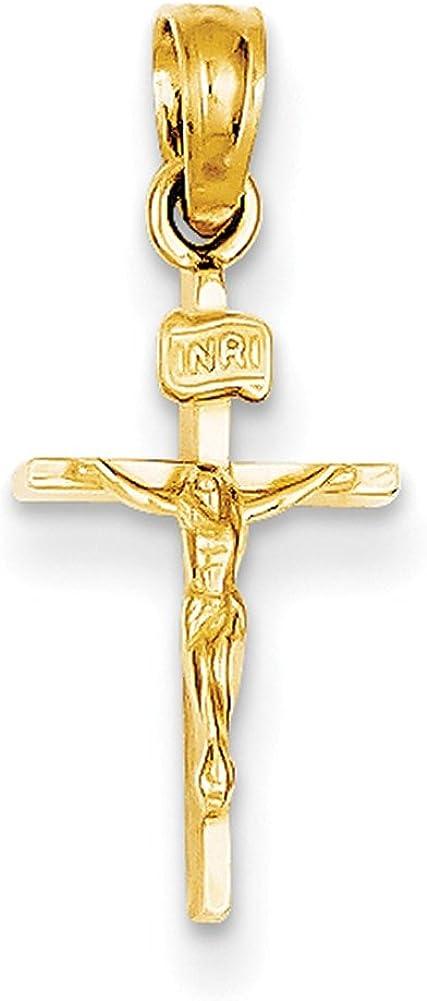 14k Yellow Gold Small INRI Crucifix Pendant