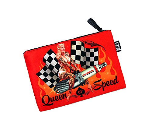 Liquor Brand Queen of Speed Pinup on Spark Plug Cosmetic Case ()