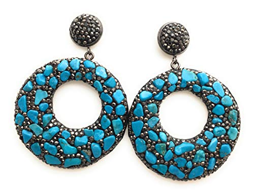 Round Large Circle Elegant Vintage Turquoise Bohemian Semi-Precious Gemstone Stone Drop Dangle Stud Earrings For Womens Ladies ()