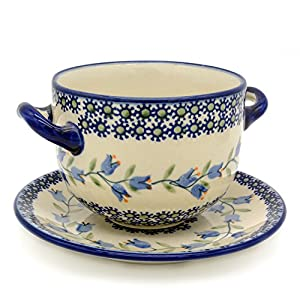 Polish Pottery SET 2 – Soup Bowl/Saucer in Agnes Pattern