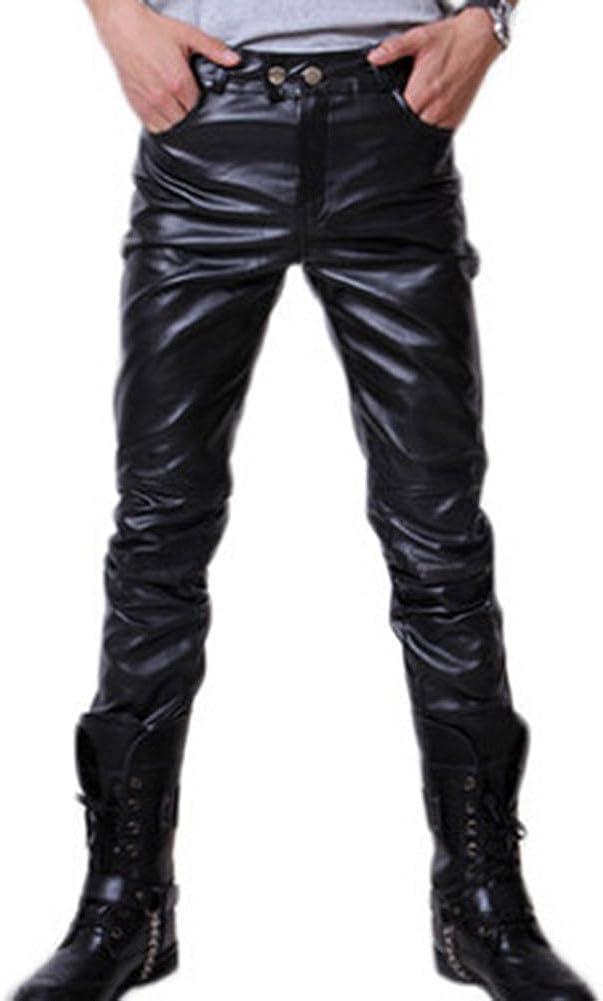 hibote Hombre Moto Pantalones de Cuero Pantalones Casuales Ajustados con cinturón Pantalones de PU Cuero Suave Pantalones de Motociclista Negro Oro Plata M-3XL