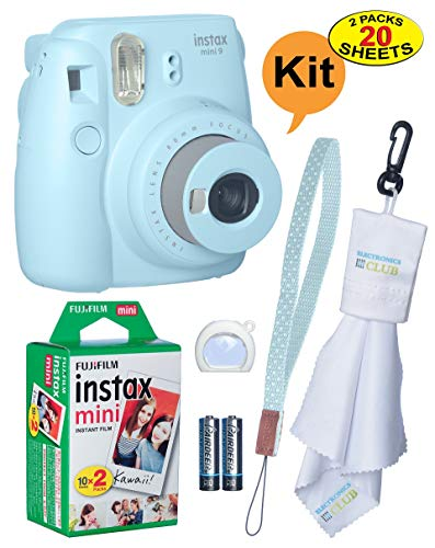 Fujifilm Instax Mini 9 Instant Film Camera + 20 Sheets of Instant Film + Lens Cleaning Cloth + Close-Up Selfie Lens + Wrist Strap | Batteries Included – ICE-Blue