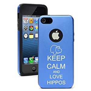 """Apple iPhone 6 Plus (5.5"""") Aluminum Silicone Dual Layer Hard Case Cover Keep Calm and Love Hippos (Blue)"""