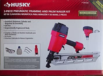 husky 2 piece pneumatic framing nailer and palm nailer kit