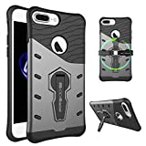 iPhone 7 Plus Case, Moonmini Shockproof Dual Layer Heavy Duty Hybrid Armor Defender Full Body Protective Bumper Shell Cover with 360 Degree Rotating Kickstand for iPhone 7 Plus - Black + Dark Gray