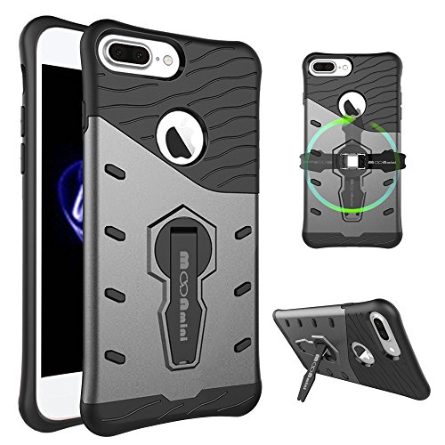 360 Degree Full Body Armor Case for Apple iPhone 7 Plus (Grey) - 1