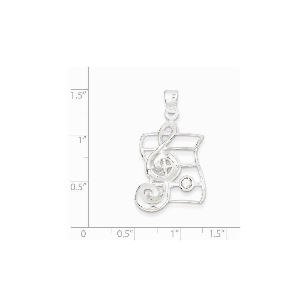 Sterling Silver Solid Musical Charm Cubic Zirconia