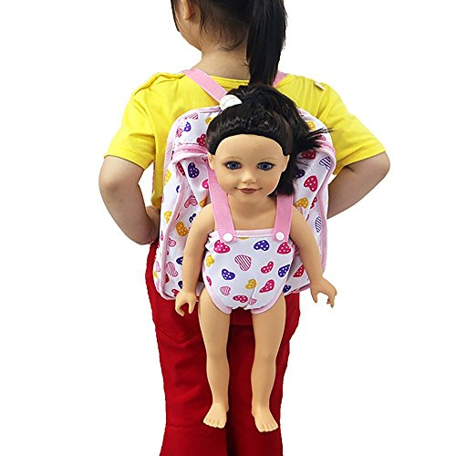 WensLTD Baby Doll Carrier Backpack Storage Sleeping Bag Doll Accessories for 18 American Girl Clothes (B)