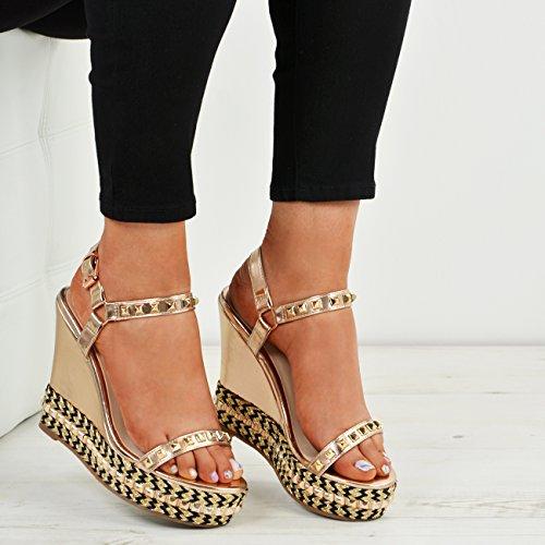 New Womens Ladies Rock Stud Wedge Sandals Platform Heels Shoes Size UK 3-8 Rose Gold ui7b6y2Qc