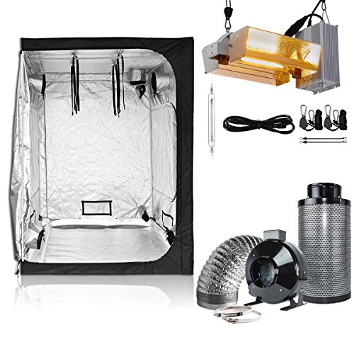 BloomGrow 60''x60''x80'' Grow Tent + 6'' Inline Fan Air Filter Combo Ventilation System + 1000W Double Ended Grow Light Kit (60''x60''x80'' Tent+6'' Filter Combo, DE Open Kit Plus/adjustable) by BloomGrow
