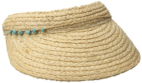 San Diego Hat Company Women's 4-Inch Brim Raffia Visor Hat With Turquoise Trim, Natural, One Size (Womens Raffia)