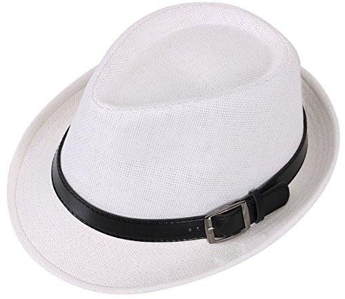 Harcadian Women's Short Brim Fedora Straw Hat w/Buckle Band White Hat Black Belt 57cm -